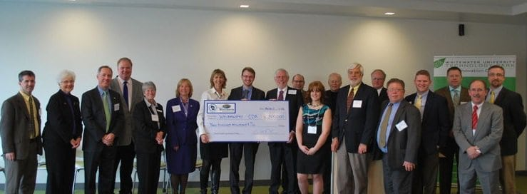 WEDC officials were on hand March 13 to present a $200,000 Capital Catalyst grant to the Whitewater Community Development Authority.