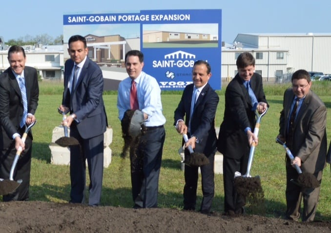 Governor Scott Walker and officials with Saint-Gobain Corp. break ground on the company's expansion in Portage.