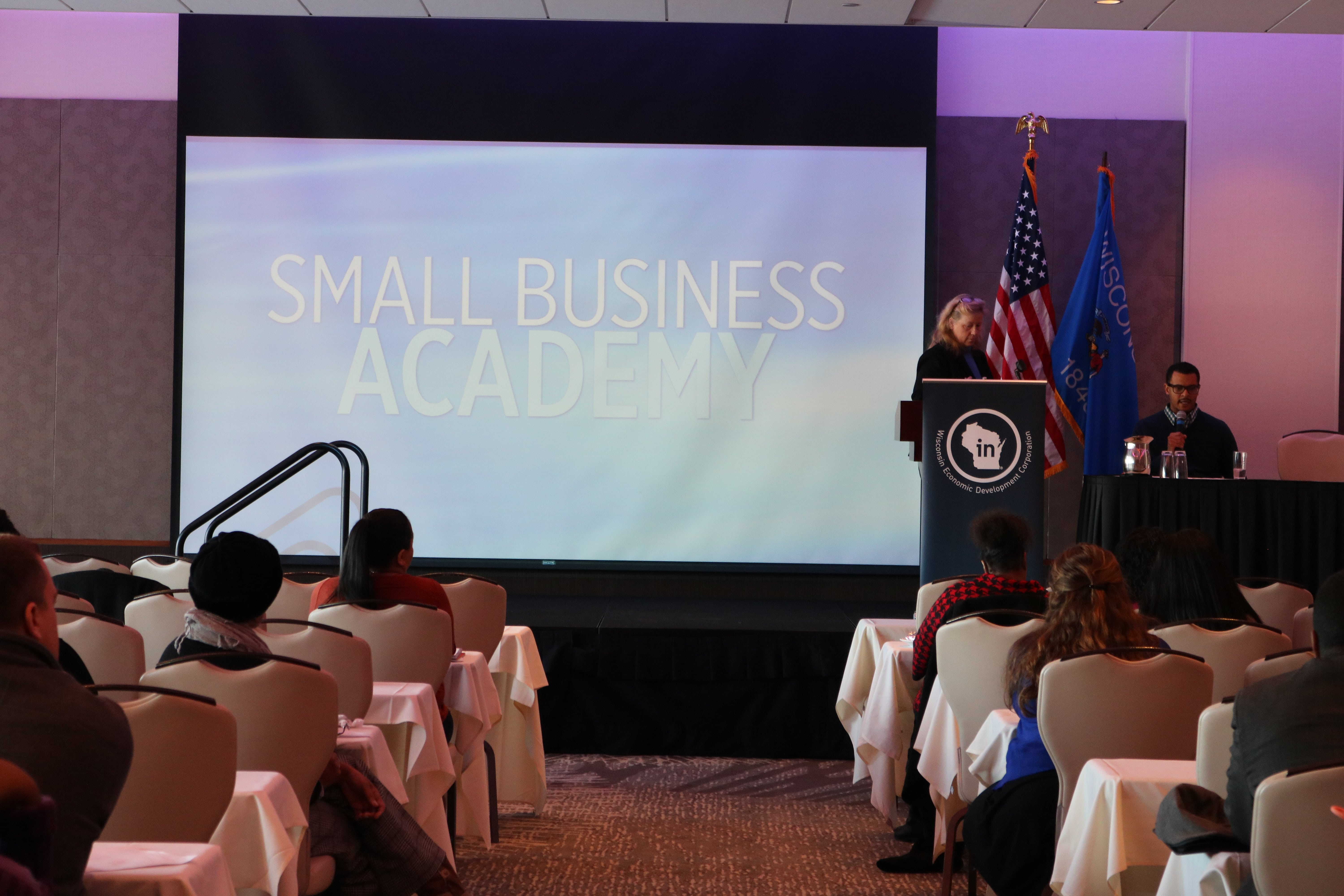 During this morning's Small Business Academy, Jeremy Taylor of Milwaukee spoke about the experience of starting his Bourbon on Wheels food truck business, and Anne Hlavacka, director of the Wisconsin Small Business Development Center at UW-La Crosse, spoke about the resources and assistance available for startups.