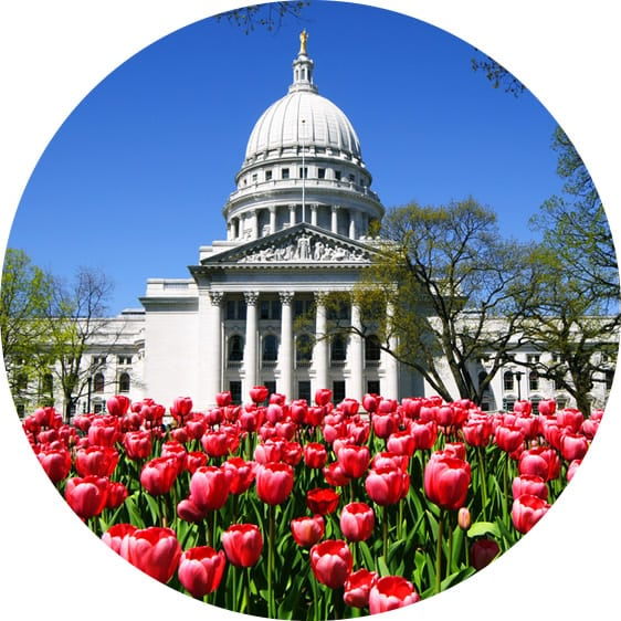 Wisconsin climate: Spring at the state capital in Madison, Wisconsin
