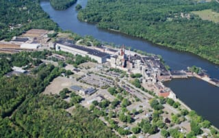Aerial view of ND Paper's Biron, Wis. mill
