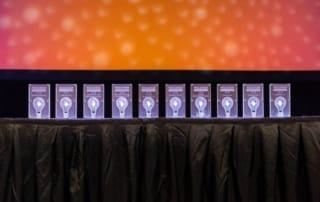 A display of the Wisconsin Innovation Awards awards